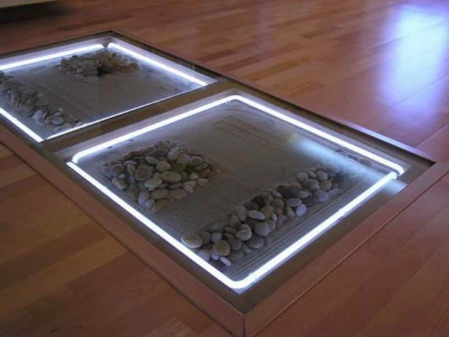 DIY Adding Glass Flooring With Pebble In Your Home