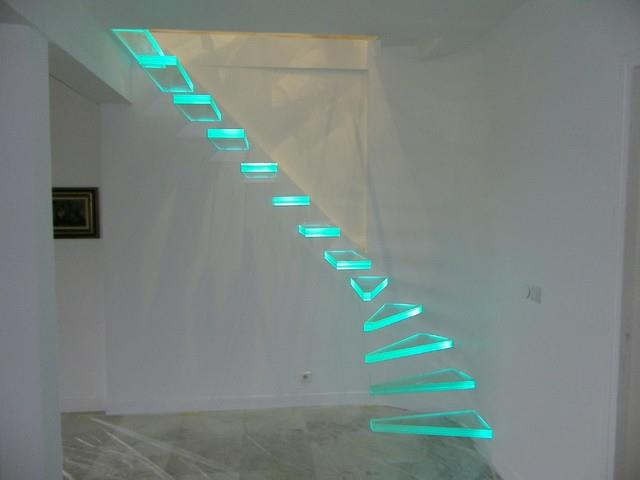 The 25 Best Stair Lighting Ideas On Pinterest: Glass Stairs Combined With LED Lights For Spectacular