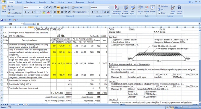 road estimate excel sheet engineering feed