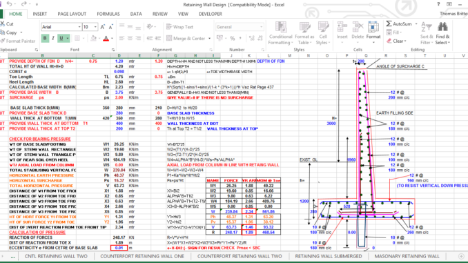 RCC RETAINING WALL(CANTILEVERTYPE) EXCEL SHEET - Engineering Feed
