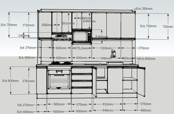 Kitchen ergonomics circulation engineering feed - Medidas de armarios de cocina ...