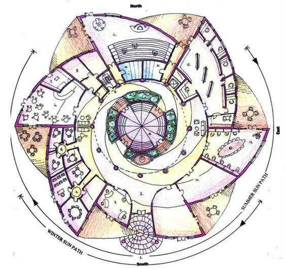 Circular plans of different types of buildings in the word for Circular house plans