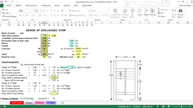RCC Dog Legged Staircase Design Excel Sheet