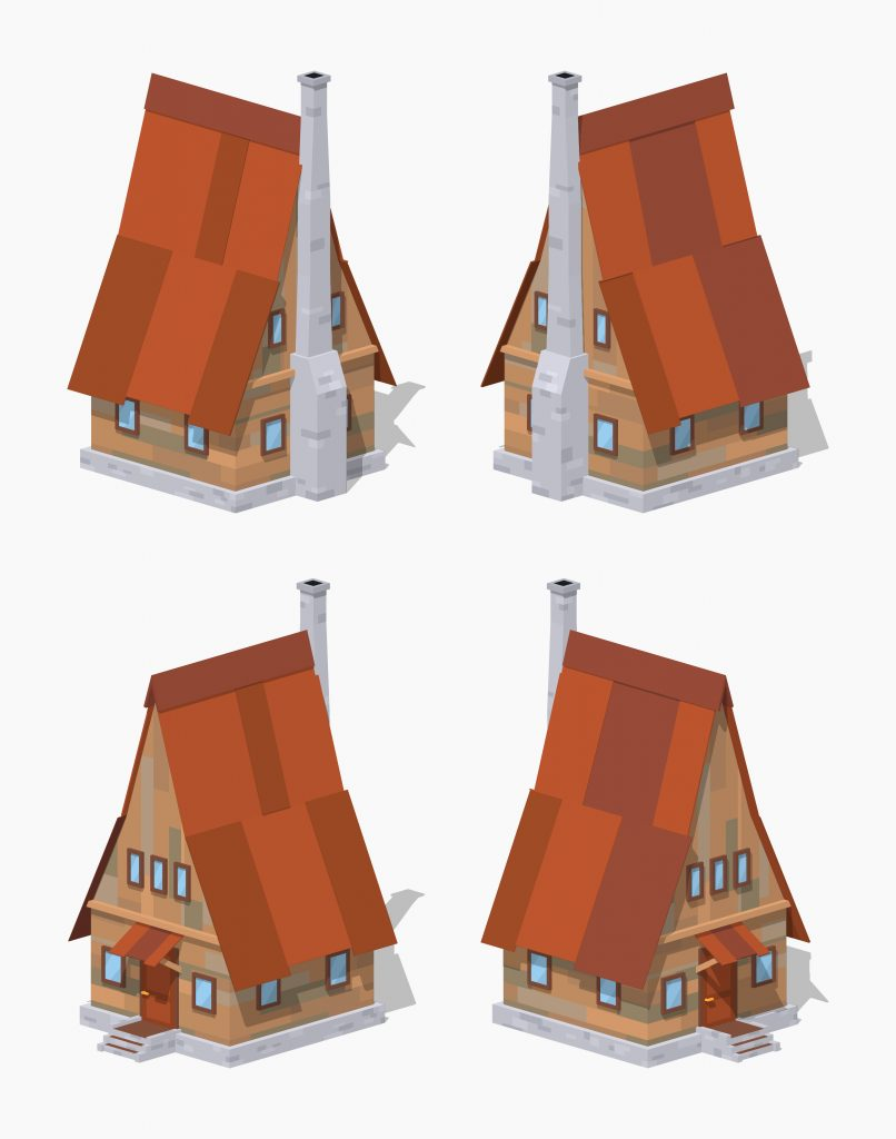 A Frame Wooden House. 3D Lowpoly Isometric Vector Illustration. The Set Of  Objects Isolated Against The White Background And Shown From Different Sides