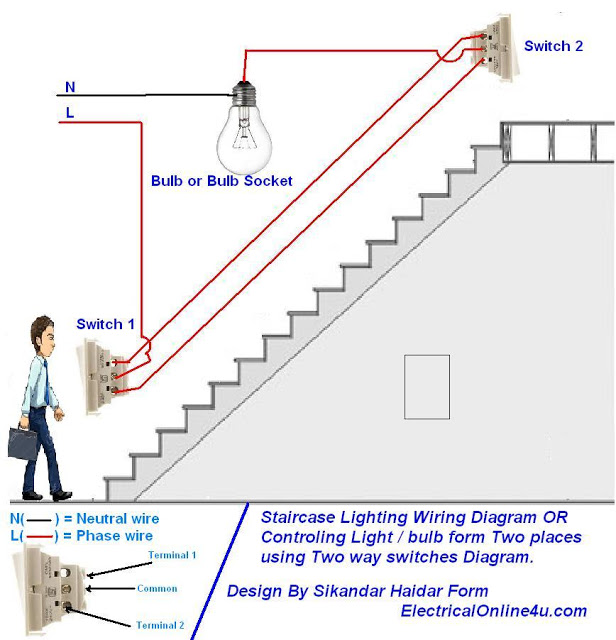 1 way light switch wiring diagram how to control a lamp / light bulb from two places using two way switches for staircase lighting ...