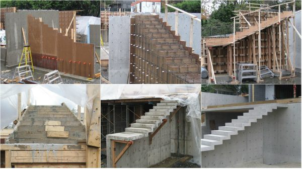 Cantilevered Concrete Stair Construction Process Seen From Close