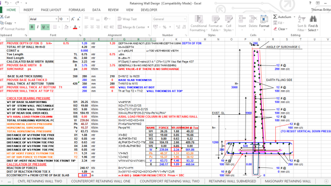 Rcc Retaining Wall Cantilevertype Excel Sheet