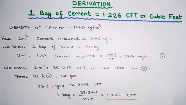 How To Obtain The Quany Of 1 226 Cft In Bag Cement